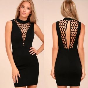 Lulus Lavish Lattice Black Bodycon Dress Size L